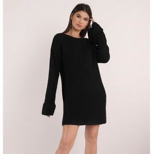 TOBI Allison Cuffed Sleeve Sweater Dress Black B38